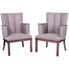Pair of Mahogany Art Deco Armchairs, New upholstery, high gloss, 1920 - 1929