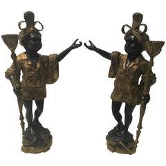 Spectacular Pair of Bronze Blackamoor Sculptures
