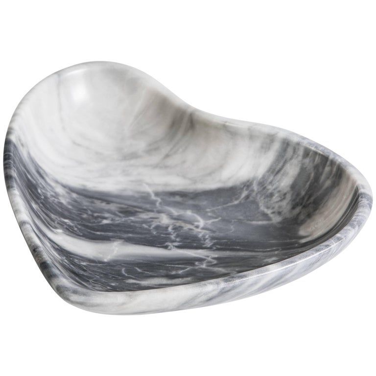 Small Heart Bowl in Grey Marble Handmade in Italy