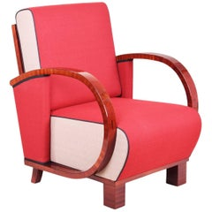 Art Deco Armchair from Czechoslovakia, Period: 1920-1929, Walnut, New upholstery