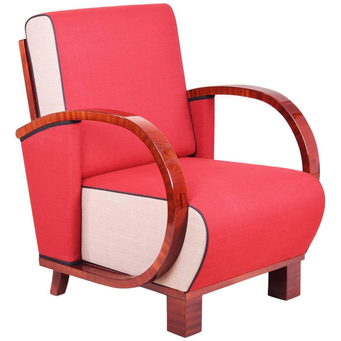 Charmant Art Deco Armchair From Czechoslovakia, Period: 1920 1929, Walnut, New  Upholstery