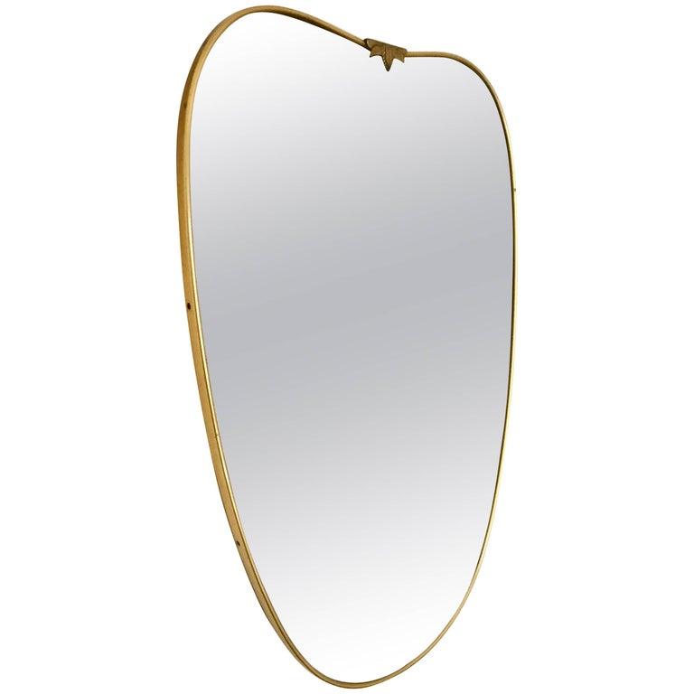 Italian Brass Frame Mirror, circa 1950s
