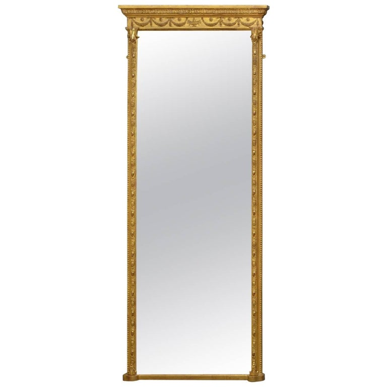 Elegant Victorian Full Length Giltwood Mirror For