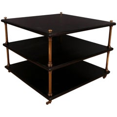 1920s Brass and Ebonized Wood Lamp Table