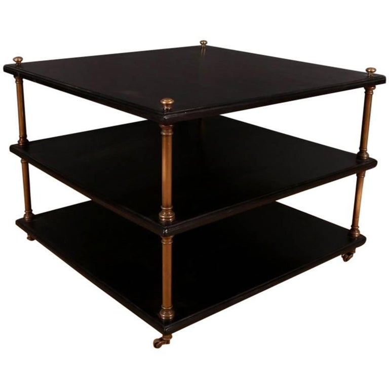 S brass and ebonized wood lamp table for sale at stdibs
