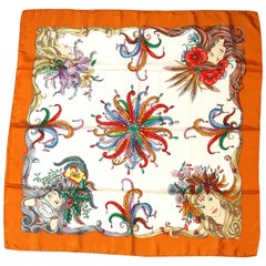 Lucious Gucci Signature Silk Scarf Four Ladies Set in Flowers