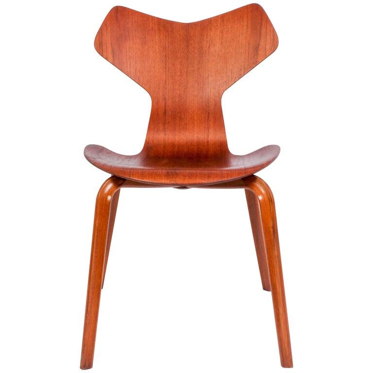 Arne Jacobsen Teak Grand Prix Chair Model 3130 by Fritz Hansen
