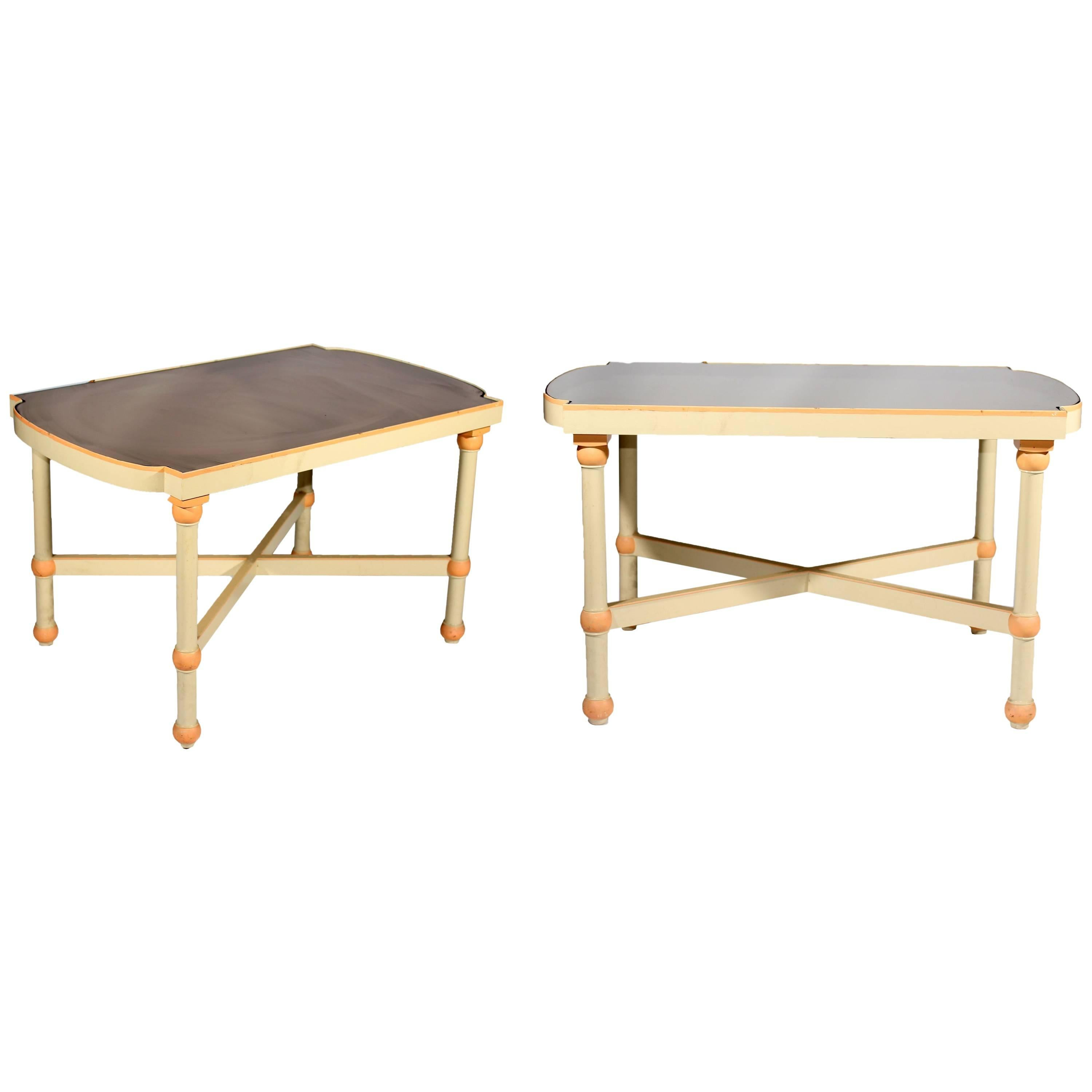 1970s Pair of Lacquered Side Tables Topped with a Smoked Glass Mirror