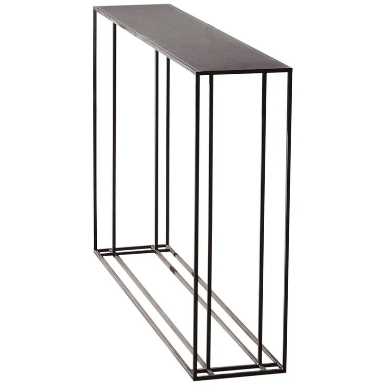 Small loft binate contemporary art deco minimal steel for Small metal console table