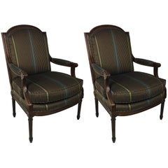 Pair of Open Arm Bergeres by Baker Furniture