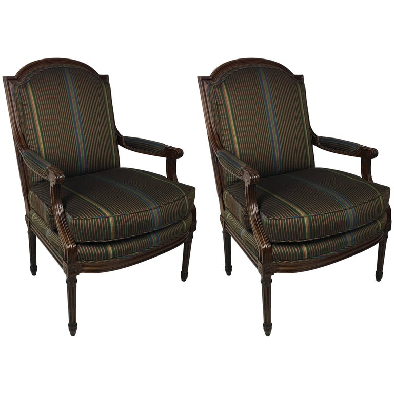 Pair of Open Arm Bergeres by Baker Furniture 1
