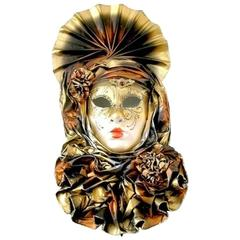 Venetian Handmade Gold Mask with Flowered Pleated Jabot