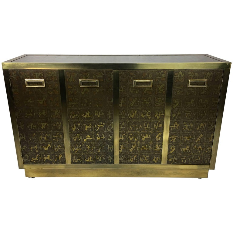 Rare Etched Brass Cabinet by Mastercraft For Sale