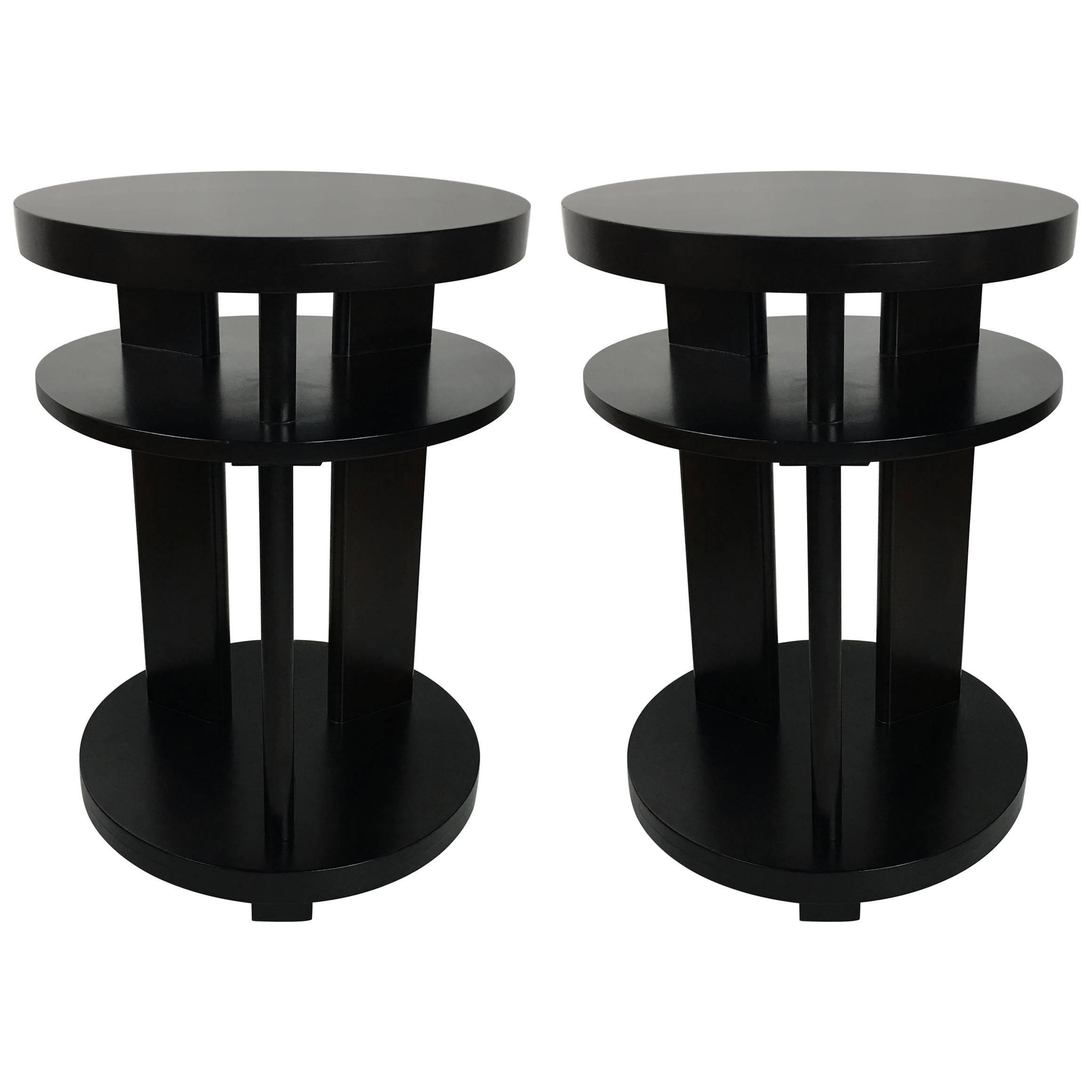 Pair of Ebonized Mahogany Side Tables by Paul Laszlo