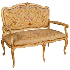 Italian Sofa in Lacquered and Giltwood in Louis XV Style from 20th Century