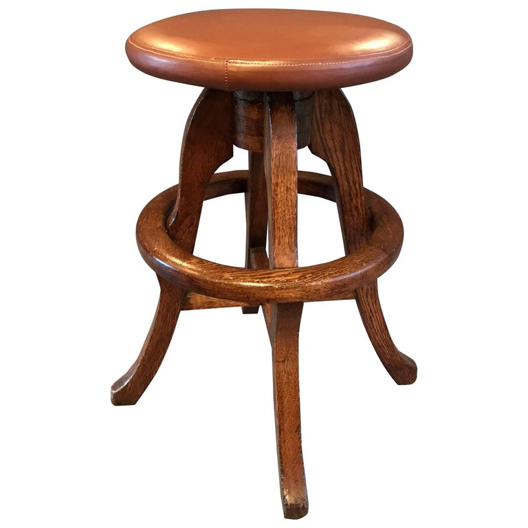 Solid Oak and Leather Workshop Drafting Stool For Sale