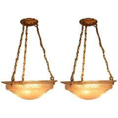 Pair of French Art Deco Chandelier by Charles Schneider