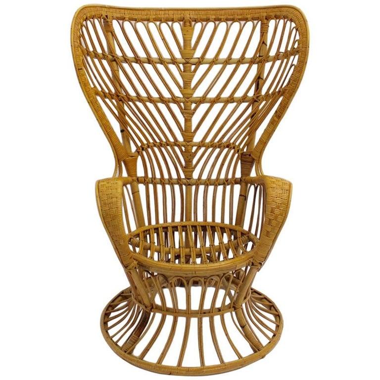 Rattan Armchair Designed by Lio Carminati, circa 1948