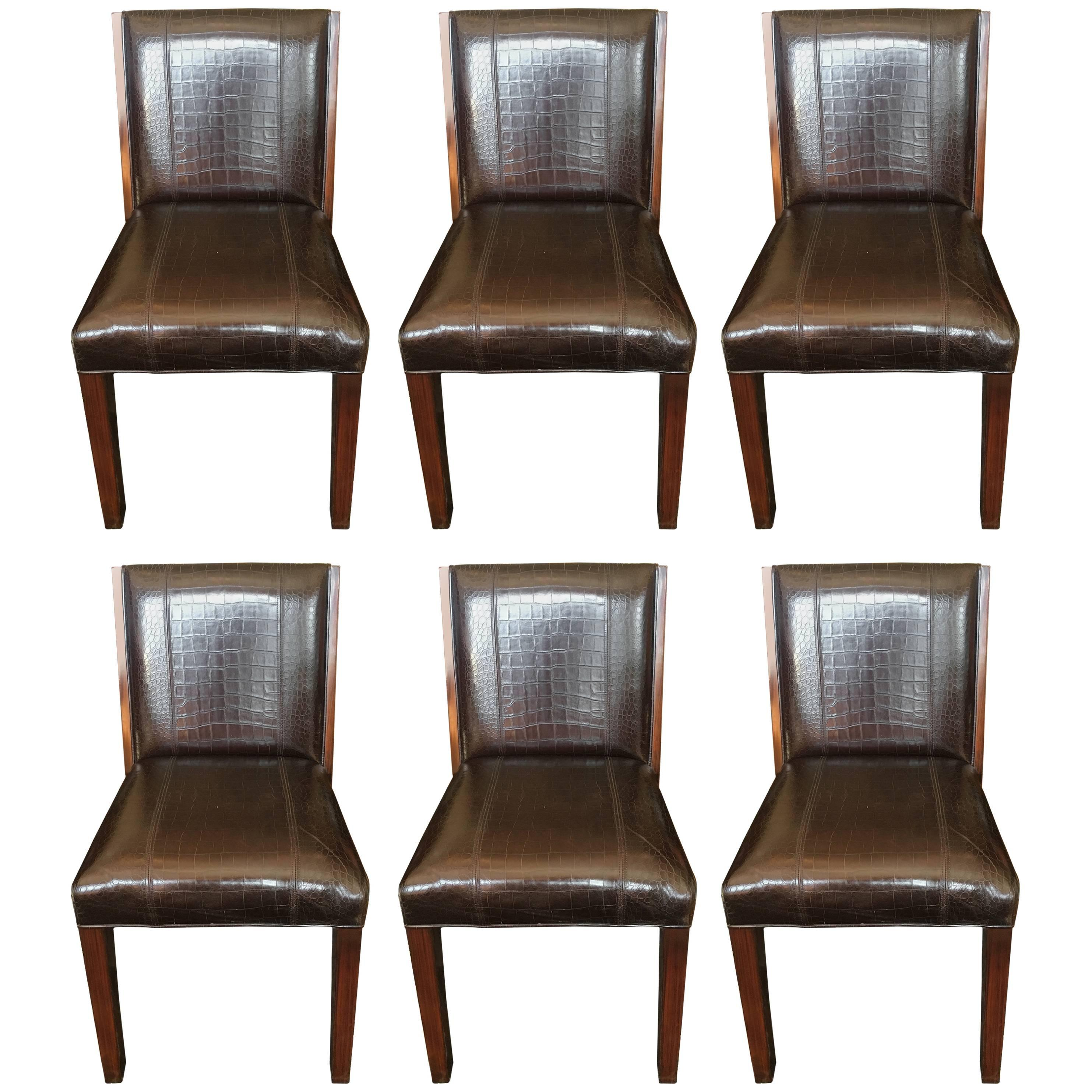 Set Of Six Rich Ralph Lauren Crocodile Embossed Leather Dining Chairs