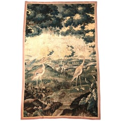 18th Century French Aubusson Verdure Tapestry with Birds and Foliage