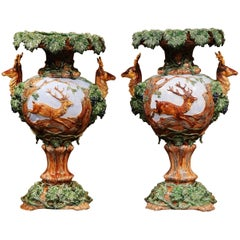 Pair of 19th Century French Painted Barbotine Vases with Deer, Grapes and Vines