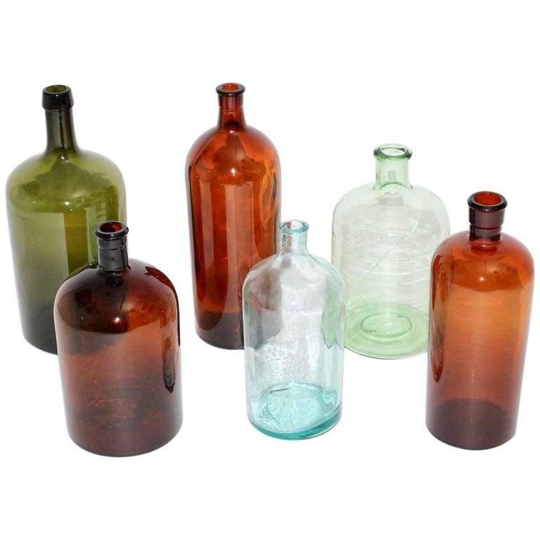 Set of Six Art Deco Bottles 1920s, Austria For Sale