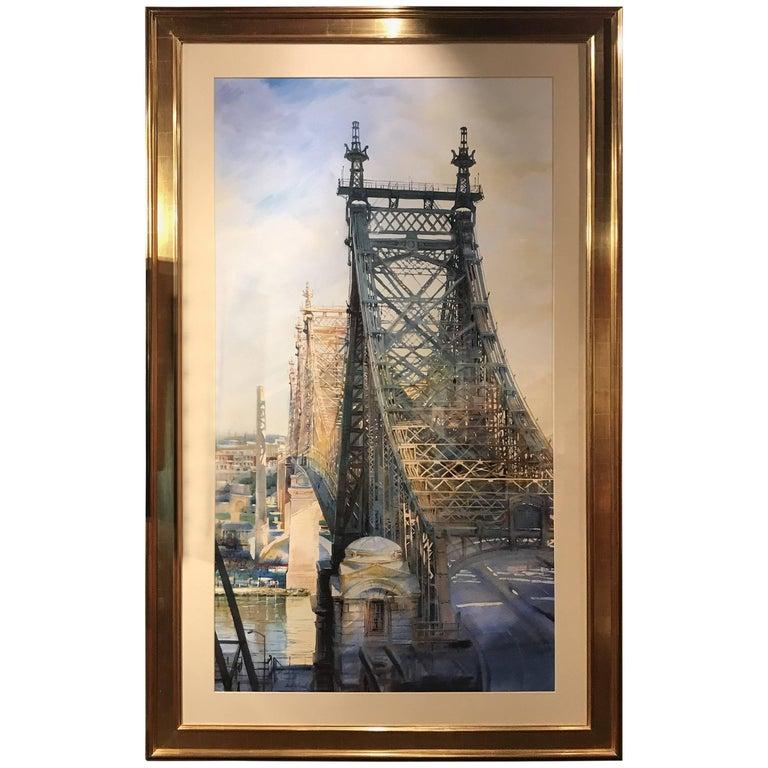 Alexander Creswell Large Watercolor Painting, The Queensboro Bridge 2, 2006