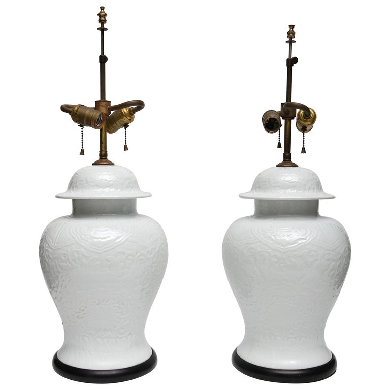 Pair of White Chinese Ginger Jar's Mounted as Table Lamps