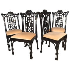 Set of Four Black Lacquer Asian Chinoiserie Pagoda Dining Chairs