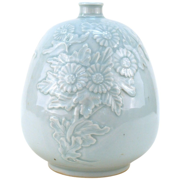 Korean Celadon Vase With Flying Cranes And Cloud Design For Sale At