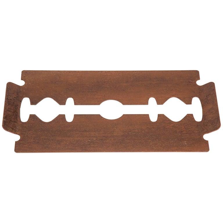 Edged Tray Rusty-Colored Plating, Minimalist Modern