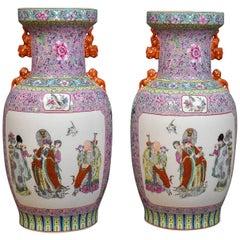 Midcentury Pair of Chinese Baluster Vases, Hand-Painted Ceramic Urns