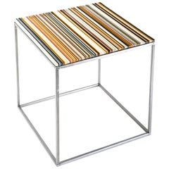 Barcode Colored Glass Stainless Steel Table Designed by Orfeo Quagliata