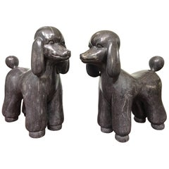 Large Italian Solid Marble Poodle Statues
