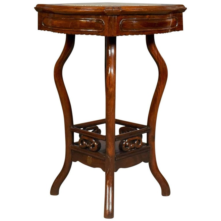 Chinese antique side table rosewood and marble british for Antique chinese tables for sale
