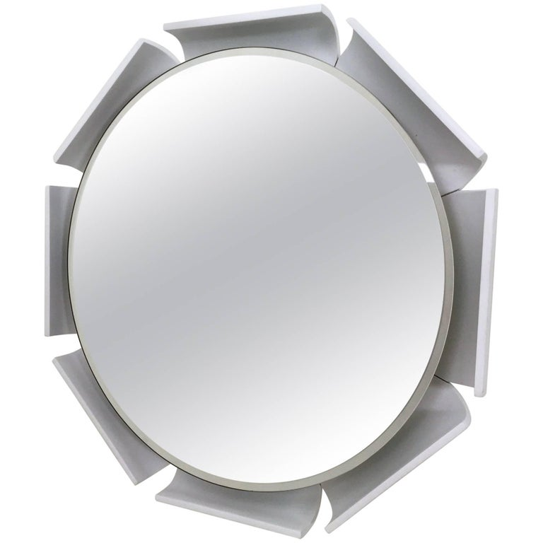 Curved and White Lacquered Wood Wall Mirror, Italy, 1970s