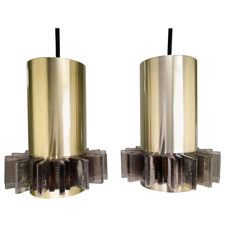Claus Bolby Danish Modern Space Age Brass and Grey Acrylic Pendants, 1970s