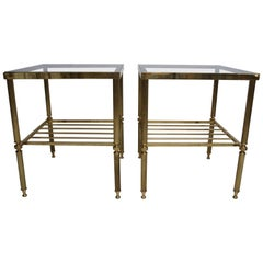 Pair of Maison Jansen Style Side Tables in Brass and Glass