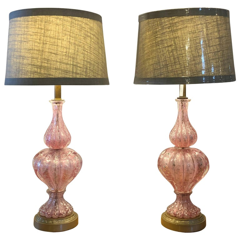 Pair of Large Barovier e Toso Murano Glass Table Lamps with Silver Aventurine