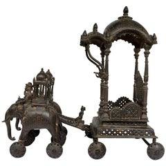 Portable Bronze Chariot - Altar. India, 18th - 19th Century