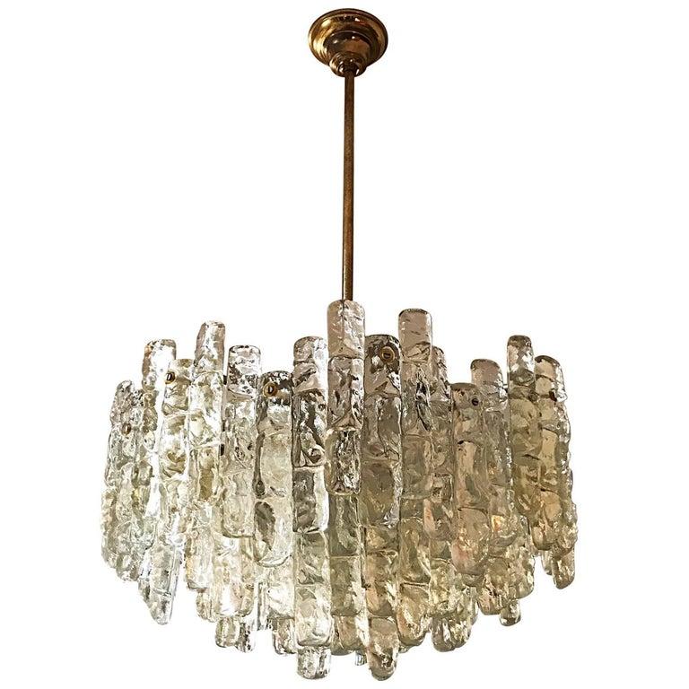 J.T. Kalmar mid-century chandelier Glass 36 pieces 60 cm Austria , 1972