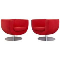 Contemporary Modern Pair of Red Tulip Swivel Chairs B&B Italia, Italian