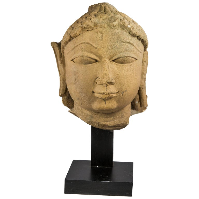 11th Century Yellow Sandstone Indian Head of Buddha Statue For Sale