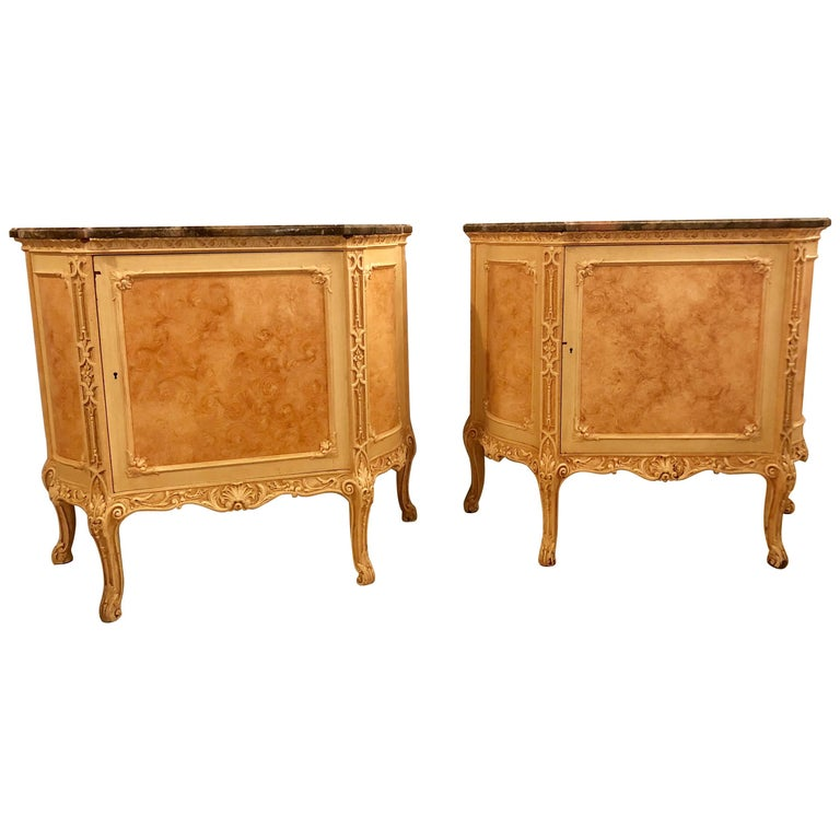 Pair of Hostetler Custom Faux Painted Marble-Top Commodes or Nightstands