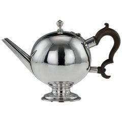 Antique 18th Century George I Scottish Solid Silver Bullet Tea Pot, circa 1725