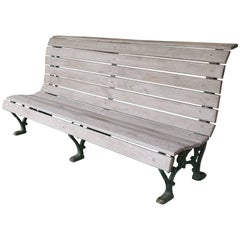 Curved Wood Slat and Iron Park Bench with Back from Belgium, circa 1910