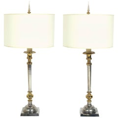 Pair of Large Scale Nickel and Brass Lamps