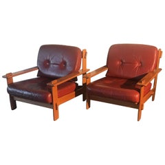 Late 20th Century Scandinavian Design Oak & Leather Lounge Chairs Great Quality