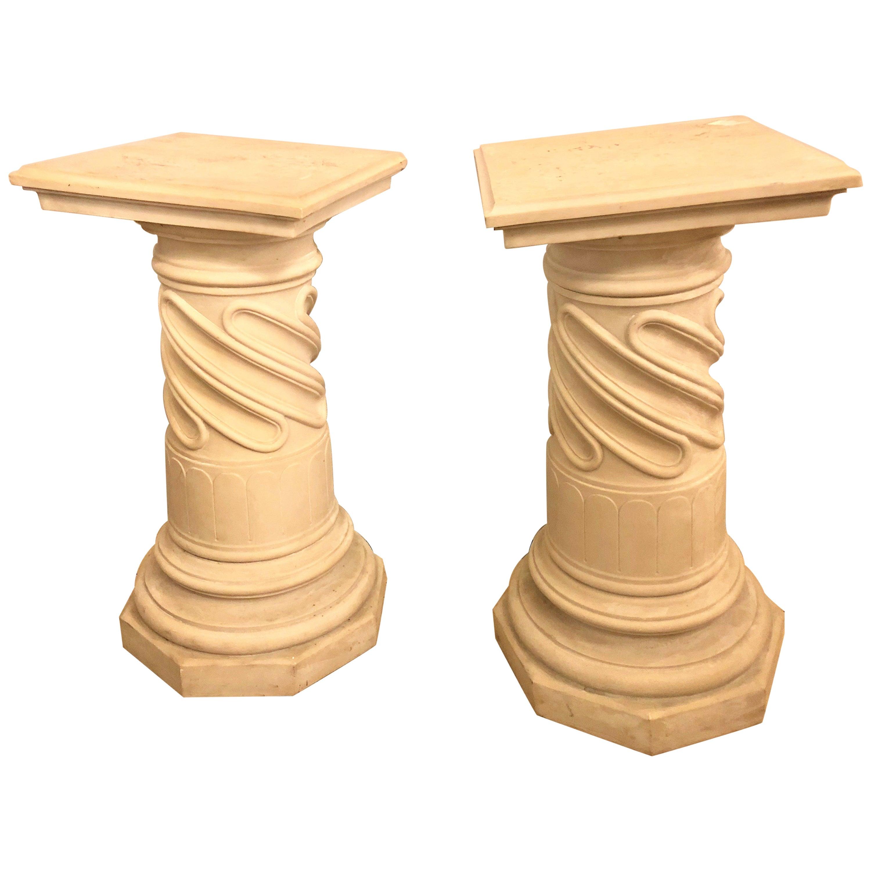 Pair of Composite Column Form Pedestals