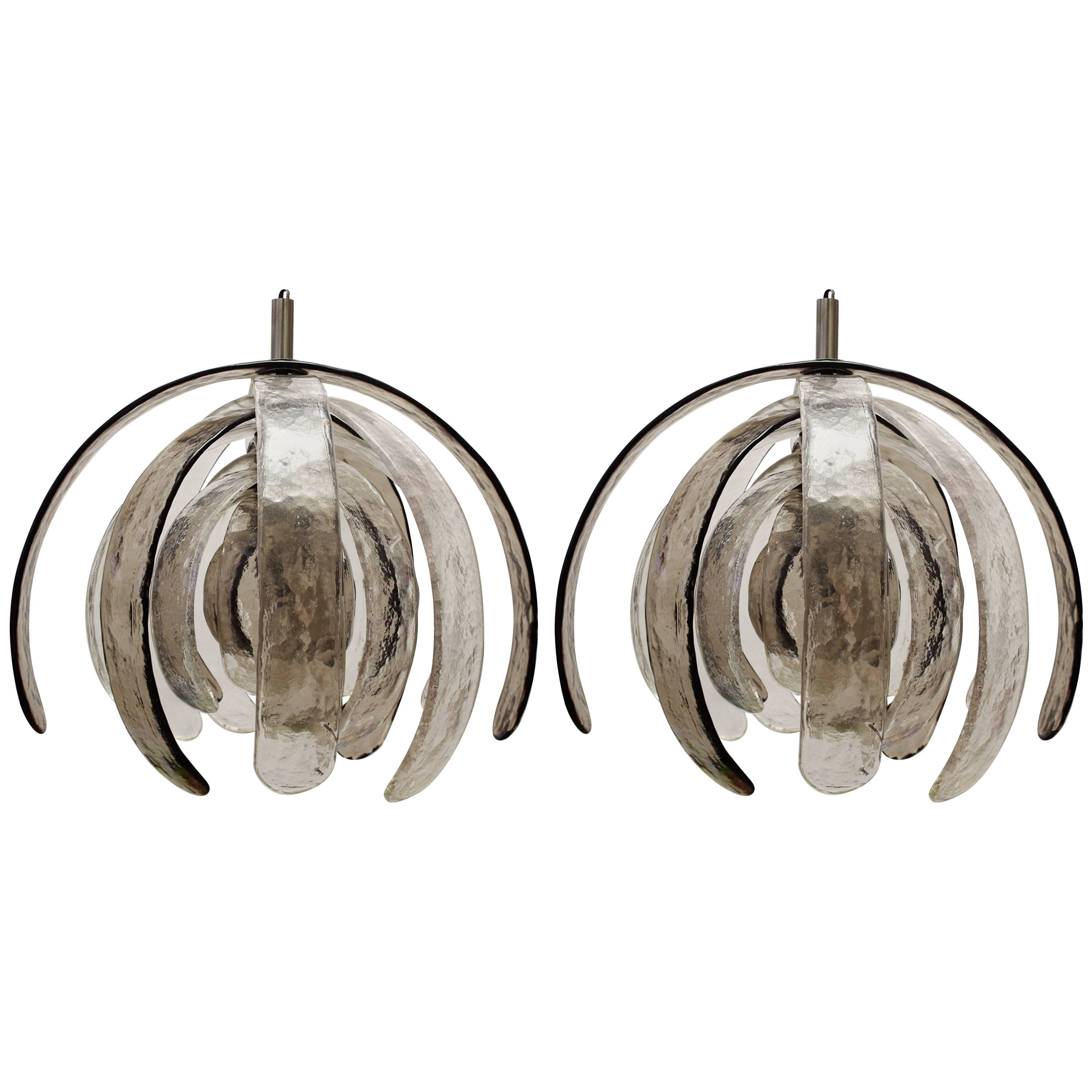 Three Rare Huge Carlo Nason Blown Glass Ceiling Lights Chandeliers, Italy, 1960s